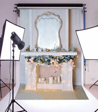5x7FT Vinyl Photo Backdrops Christmas Fireplace Lights Photography Background
