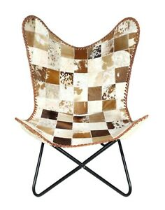 Indian Handmade Goat Hair Leather Butterfly Chair With Iron Folding Stand S6-102
