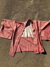 Men Silk Vintage Wide Japanese Kimono Haori Jacket Red Blossoms
