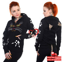 Banned Black Gothic Punk Emo Rockabilly Kitty Paw Tail Cat Face Womens Hoodie