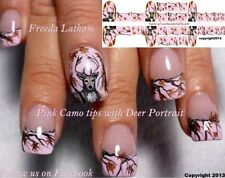 "30 Pink Camo with Buck Nail Decals from the "" Signature Collection """