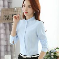 Women Elegant Stand Collar Long Sleeve Chiffon Blouse Career OL Shirt Tops