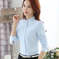 Women Elegant Stand Collar Long Sleeve Chiffon Blouse Career OL Shirt Tops