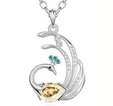 Silver Plated Champagne Gold Blue White Crystal Peacock Pendant Chain Necklace