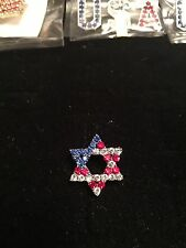 "VERY NICE QUALITY American Flag Star of David Pin Jewish7/8X7/8"" BUY1GET1FREE!!!"