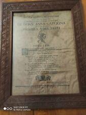 Sonetto stampato su seta. Documento antico ed originale  1761 Parma