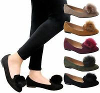 Ladies Womens Flat Sneaker Slip On Ballet Loafers PomPom Office Pumps Shoes Size