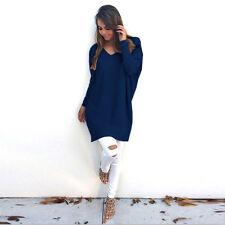 Women Winter Knitted Jumper Warm Sweater Tops Pullover Knitwear Long  Dress Hot