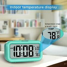 Small Smart Night Light Digital Alarm Clock Temperature Battery Operated Mint