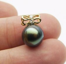 Black Green Real Tahitian Cultured Pearl Bowknot Pendant 14K Yellow Gold 9.9mm