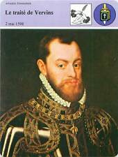FICHE CARD Paix/Traité de Vervins 1598 Philippe II d'Espagne Spain & France 90s