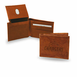 Los Angeles LA Chargers Embossed Team Logo Brown Leather Billfold Wallet