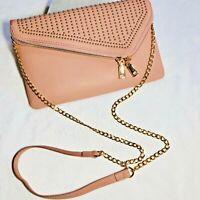Boho Leather Crossbody Bag Purse Clutch Studded Pink Blush Women's
