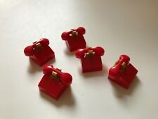 5 Lego RED TELEPHONES - ACCESSORIES FOR MINIFIGURES - CITY MARVEL FRIENDS