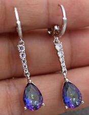 18K White Gold Filled - 1.5'' Waterdrop Blue MYSTIC Topaz Women Wedding Earrings