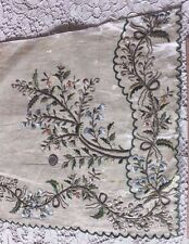 Antique French 18thC Hand Silk & Gold Metallic Embroidery On Wool/Linen Fabric