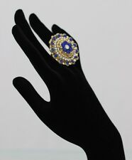 Large, fully size adjustable ring with blue & white stones set in antique gold