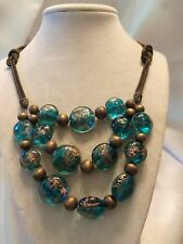 (Cwc) Awesome Antiqued Gold Double-Strand Chain Teal Blue Glass Necklace 15N423