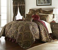 New Deluxe 9 pcs Gold/Maroon Oversized Paisley Comforter Set Cal King Queen