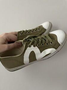 EVISU Men's Low Khaki Green Canvas White Gull Trainers Shoes UK 10 RARE