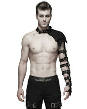 Punk Rave Mens Dieselpunk Goth Shoulder Armour Sleeve Harness Black Faux Leather