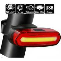 Bicycle Cycling USB Rechargeable Bike Front Rear Light 4-Modes COB LED Tail Lamp
