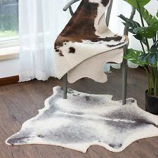 Grey Ivory  Floor Rug Mat Faux Fur Cow Hide Cowhide Cozy Shaggy Carpet 95*100CM