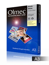 Olmec Photo Glossy 250gsm Double Sided Inkjet Paper A3/50 Sheets