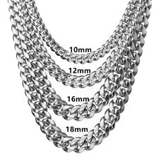 8/10/12/14/16/18mm Men Boy Silver Stainless Steel Curb Chain Rapper Necklace