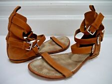 ANN DEMEULEMEESTER brown leather multi-ankle strap flat sandals shoes size 37