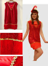 Dance, Fancy Dress 1920's Ladies Sequin RED FLAPPER Charleston DRESS UK 10,12,14