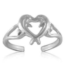 Silver 925 Adjustable Best Jewelry Heart Dolphins Toe Ring Solid Sterling