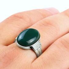 Handmade Ring for Men in Fine 10k White Gold with Genuine Green Agate Gemstone