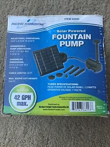 Pacific Hydrostar Solar Powered Fountain Pump 42 Gal Per Hour 66093 Unused