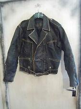 VINTAGE anni'70 Pantera in pelle effetto anticato stile Militare Giacca da moto taglia M