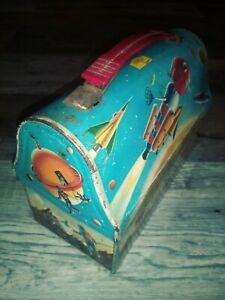 dome astrounauts lunch box outer space nasa aliens made by thermos 1960 moon