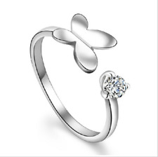 Sterling Silver Plated Butterfly Ring w/Crystal - Size 8 but Adjustable-GORGEOUS
