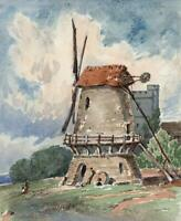 WINDMILL & CHURCH IN LANDSCAPE Small Victorian Watercolour Painting 19TH CENTURY