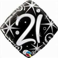 "21ST Happy Birthday Mylar Foil Balloon Party Decoration 18"" Elegant Sparkles"
