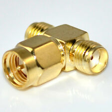 SMA male plug to 2 double SMA female triple T adapter
