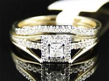 Ladies 10K Yellow Gold Solitaire Princess Diamond Engagement Wedding Ring Set