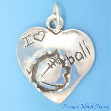 I LOVE FOOTBALL HEART SHAPED .925 Solid Sterling Silver Charm Pendant