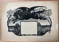 Zeichnung JUGEND 1904 Pegasus Detlev v. Liliencron Poggfred Arpad Schmidhammer