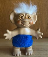 "Vintage Troll Doll Wishnik Uneeda 1960s - White Hair Blue Clothes 6"""