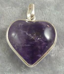 Amethyst Heart Shape Sterling SIlver Surround Pendant