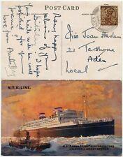 ADEN 1929 PPC INDIA 1A LOCAL SHIP ASAMA MARU VFU