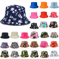US Bucket Hat Boonie Hunting Fishing Floral Solid Cap Women Men Summer Sun Hats
