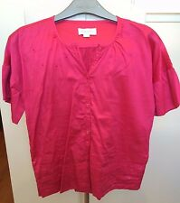 DIESEL Hot Pink Round Neck Short Sleeve 100% Soft Cotton Embroided Blouse XL