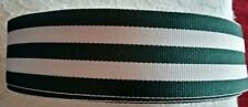 "2 yards - 38mm (1.5"") wide HUNTING GREEN/WHITE WOVEN STRIPE DOUBLE SIDED RIBBON"