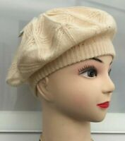 Ladies trendy fashion stretchy Knitted beret style soft cap hat CREAM NEW